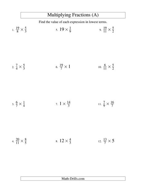 Multiplying Fractions By Whole Numbers Worksheet by Multiplying And Simplifying Fractions With Some Whole