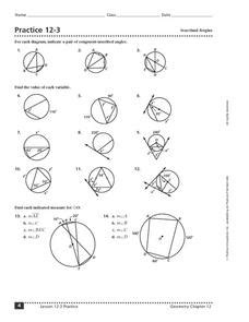 practice 12 3 inscribed angles 10th 12th grade