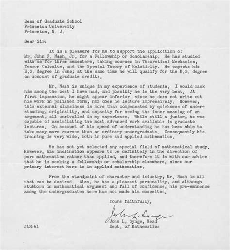 Letter Of Recommendation Nash nash recommendation letter math
