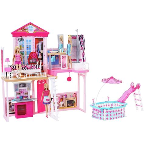 barbies doll house barbie complete glam home set house furniture pool 3
