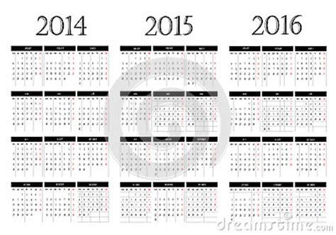 kalender 2014 2015 2016 stock afbeeldingen afbeelding