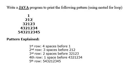 pattern questions in java using for loop solved write a java program to print the following patter