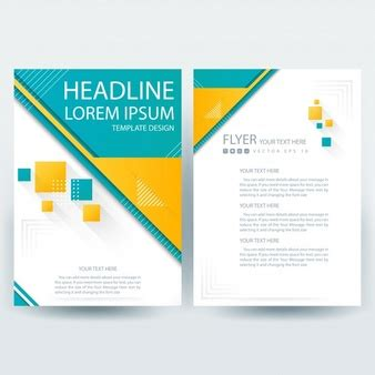 yellow business brochure template with geometric shapes signboard template vector free download