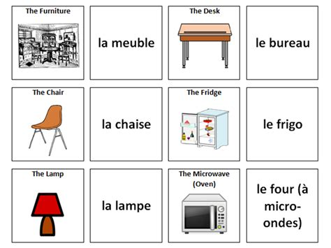what is the french word for bedroom furniture french vocabulary card sort by ineedtoteachthat