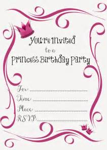 free printable princess birthday invitations free