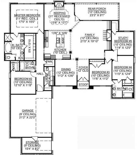 653725 1 story 5 bedroom french country house plan house plans floor plans home plans