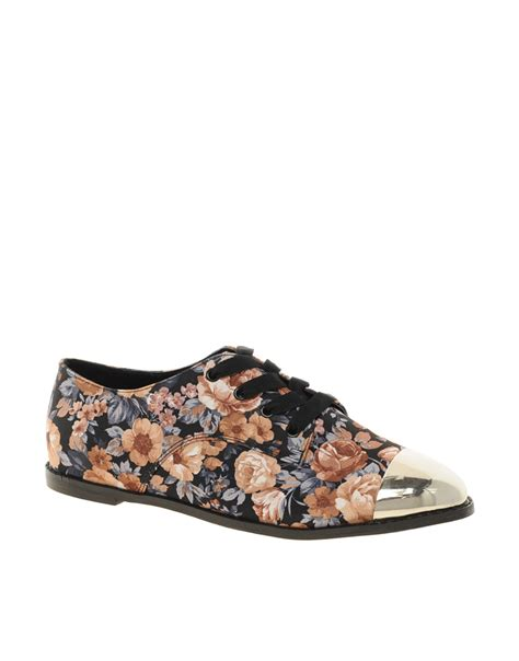 flat floral shoes asos asos mermaid flat shoes with metal toe cap in floral