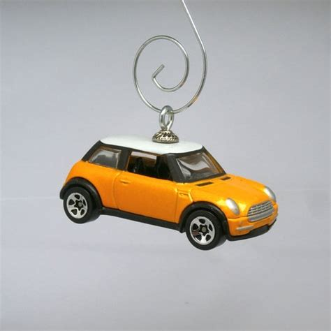 yellow mini cooper car christmas ornament ornament hook