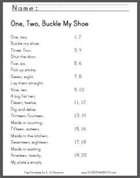 One Two Buckle Shoe Three Four Shut The Door by One Two Buckle Shoe Printable Worksheets Student