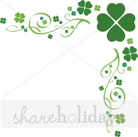 4 h thank you card template four leaf clover flourish border shamrock clipart