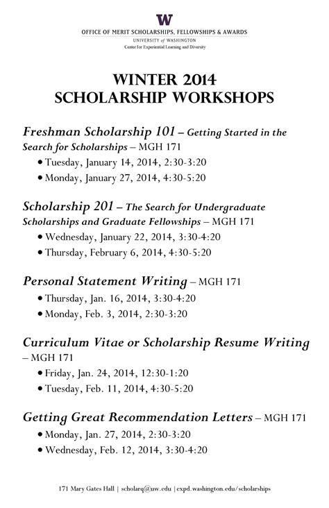 Scholarship Vision Statement winter scholarship workshops from omsfa undergraduate