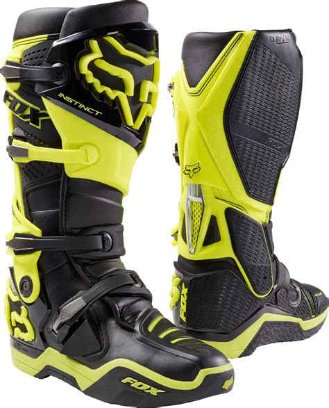 mens dirt bike boots fox racing mens black hi vis yellow instinct dirt bike