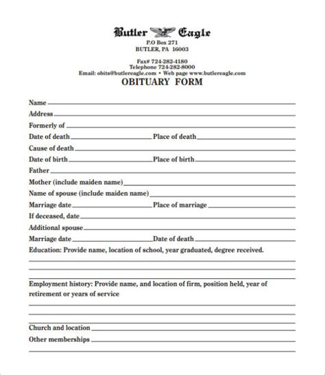 Template For Writing An Obituary by Free Obituary Template Word Calendar Template Letter