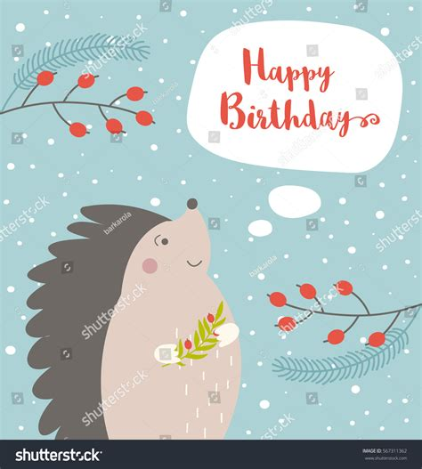 1 birthday card template winter happy birthday card hedgehog on winter stock vector