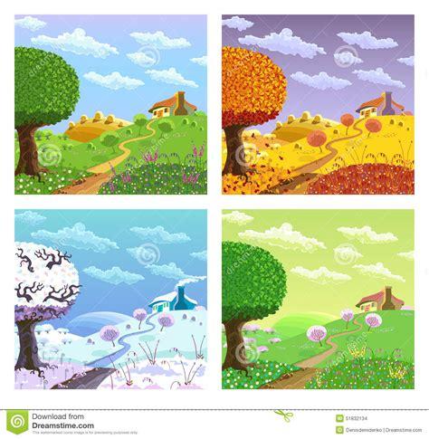 four seasons landscape rural landscape four seasons stock vector image 51832134