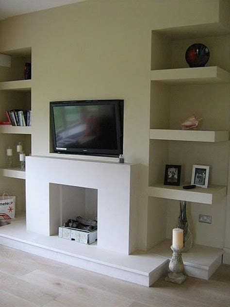 alcove floating shelves fireplace room