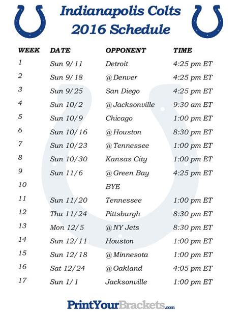 printable schedule of nfl games printable indianapolis colts schedule 2016 football