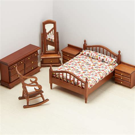 Dollhouse Bed Set Dollhouse Miniature Bedroom Set Bedroom Miniatures Dollhouse Miniatures Doll