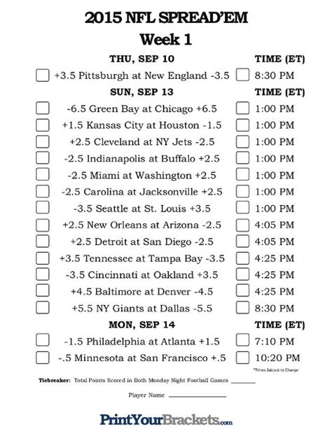 pick sheets nfl week 1 nfl and spreads on pinterest