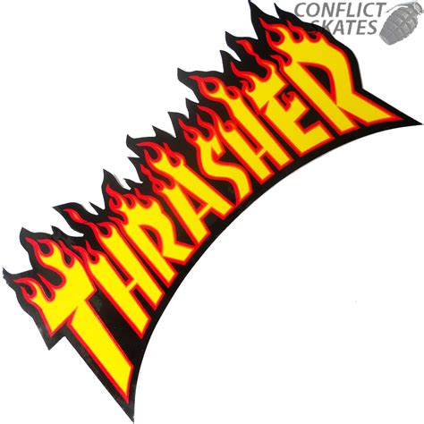 thrasher flame logo skateboard sticker 26cm large yellow