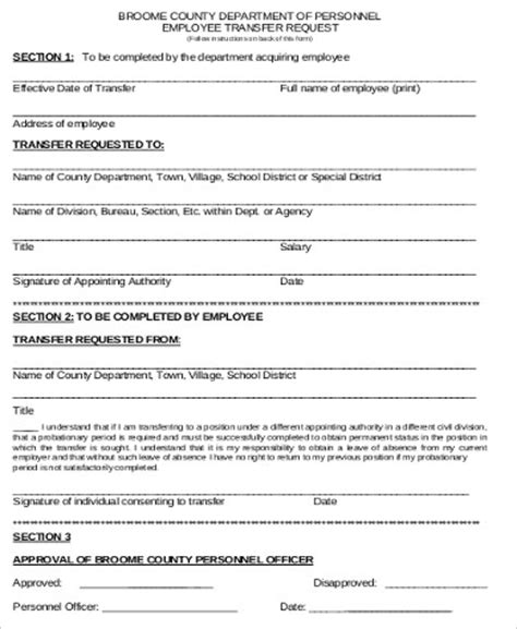 employee transfer form template sle employee transfer form 9 exles in word pdf