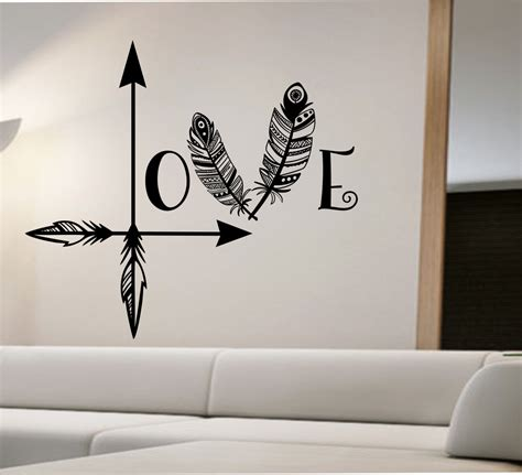 wall art decals for bedroom arrow feather love wall decal namaste vinyl sticker art