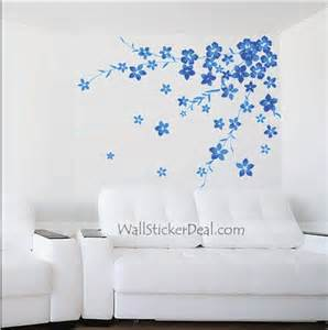 Blue Wall Stickers Blue Wall Decals Blue Floral Wall Decals Tree Vinyl Wall