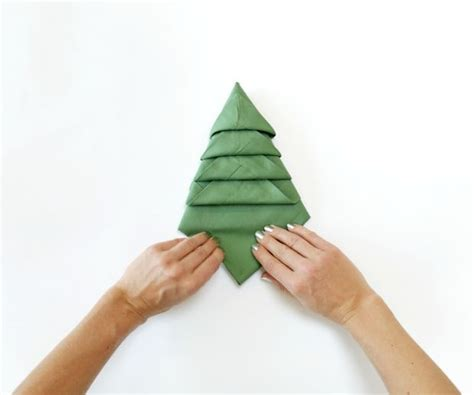 fold napkins in the shape of a christmas tree more with