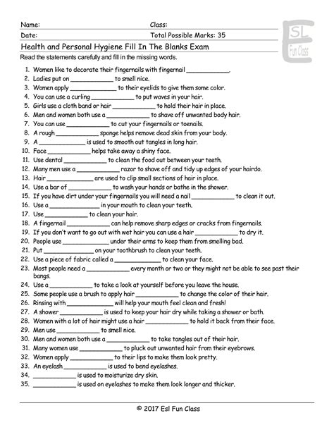 Personal Hygiene Worksheets For Middle School by Health Personal Hygiene Fill In The Blank Esl