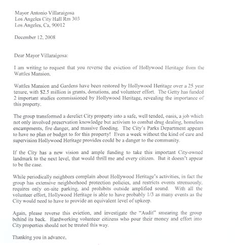 Request Letter Format For Mayor Heritage