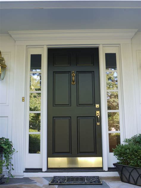 Black Kick Plates For Front Doors 6 Panel Wood Door With Bronze Kick Plate Black Contemporary Front Doors Other