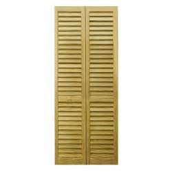 Unfinished Closet Doors Bay 36 In X 80 In 36 In Plantation Louvered Solid Unfinished Wood Interior