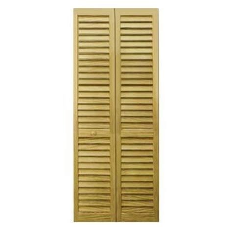 Home Depot Louvered Closet Doors Bay 36 In X 80 In 36 In Plantation Louvered Solid Unfinished Wood Interior