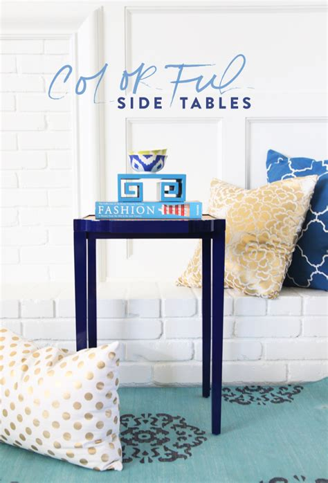 colorful side tables spray paint furniture diy oomph tini tablepencil