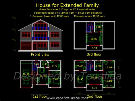 home design for extended family house floor plans 50 400 sqm designed by teoalida