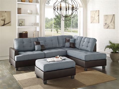 sectional sofa pc  grey fabric  boss