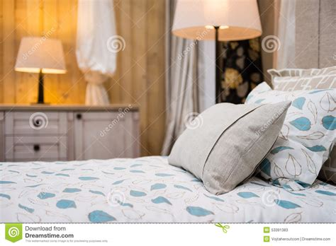 two pillows on bed stock photo image of domestic room detail of beige pillow on the bed stock photo image