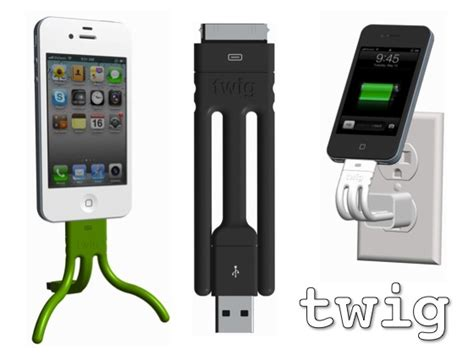 Twig Tripod Ultra Portable Lightning Cable For Iphone 55sse Yell twig ultra portable charging cable and tripod combo for your iphone