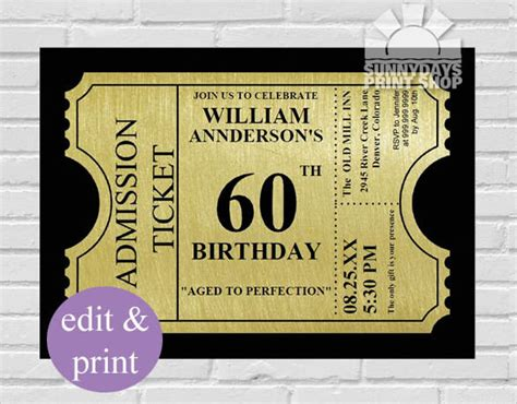 60th birthday invites free template 60th birthday invitation templates free printable best
