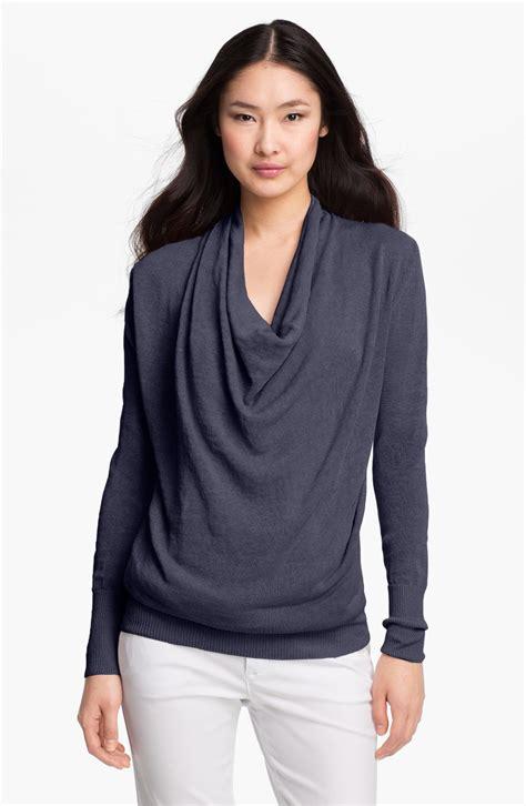 drape neck sweater lauren hansen drape neck sweater in blue denim lyst