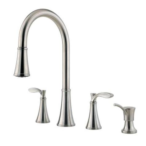 2 handle pull kitchen faucet pfister petaluma 2 handle pull sprayer kitchen faucet with soap dispenser in stainless