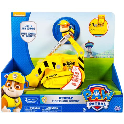 paw patrol lights and sounds spin master paw patrol rubble s lights sounds bulldozer