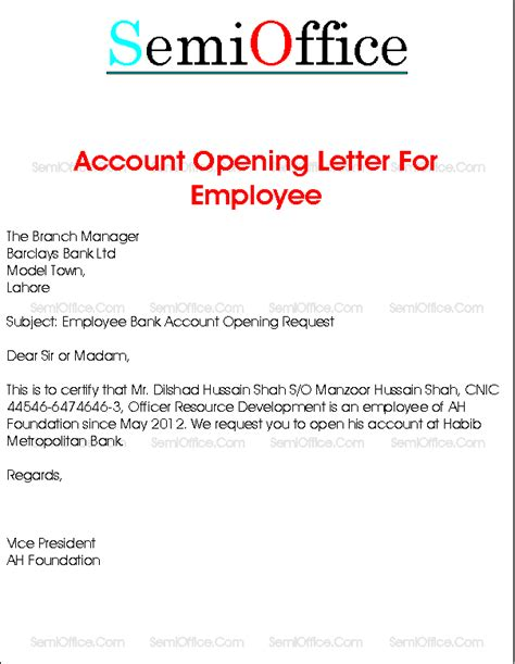 salary account cancellation letter bank account opening letter for company employee