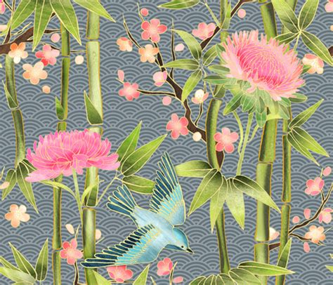 bamboo birds and blossoms on bamboo birds and blossoms on grey fabric micklyn