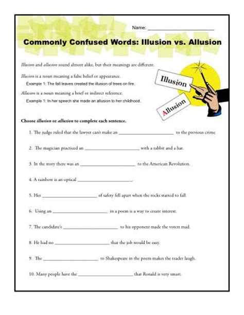 Allusion Worksheets illusion vs allusion worksheet commonly confused words