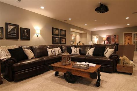 basement living room colors this every cave must a brown leather with lots of room to the even