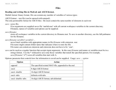 Matlab Mat Format by Matlab Files