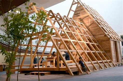 wood house structure design the frame of a wooden structure designed for temporary housing in quake hit areas
