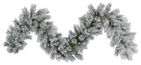 frosted pine artificial christmas garland unlit 9 x14