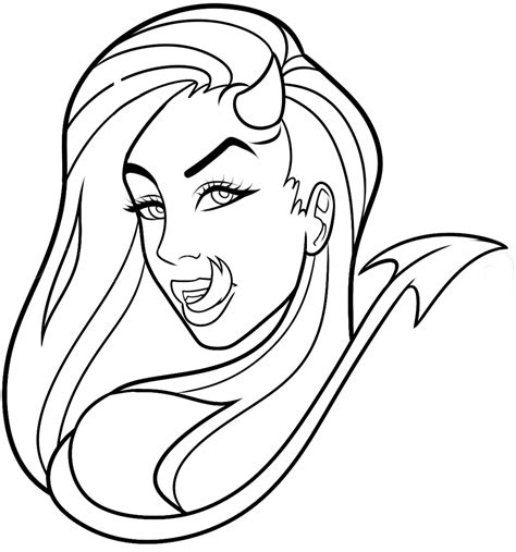 devilish lineart white bg by dawnieda on deviantart